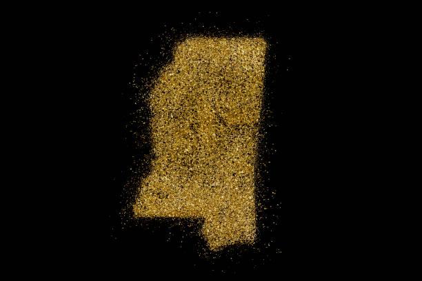 mississippi geprägt vom goldenen glitzer auf schwarz (serie) - weihnachten de stock-fotos und bilder