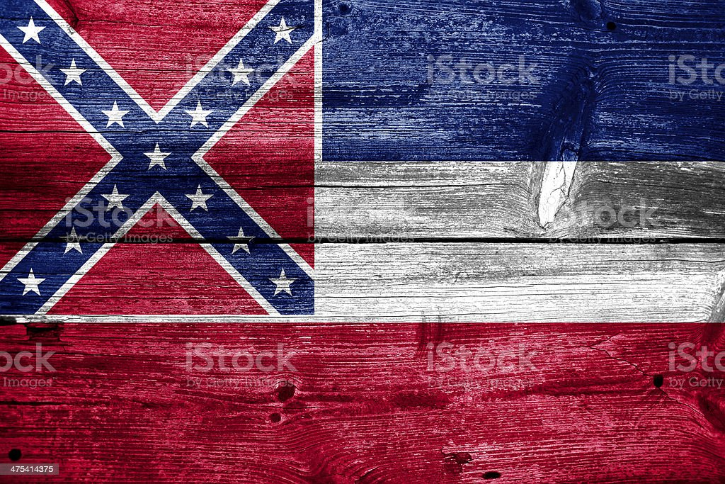 Mississippi State Flag painted on old wood plank texture royalty-free stock photo