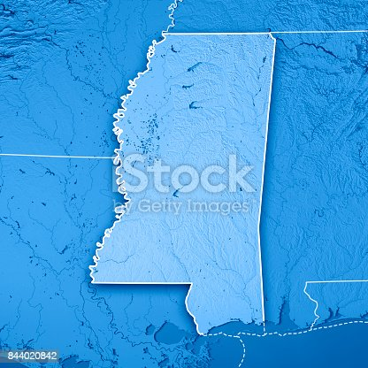 186815169istockphoto Mississippi State USA 3D Render Topographic Map Blue Border 844020842