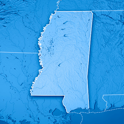 186815169 istock photo Mississippi State USA 3D Render Topographic Map Blue Border 844020842