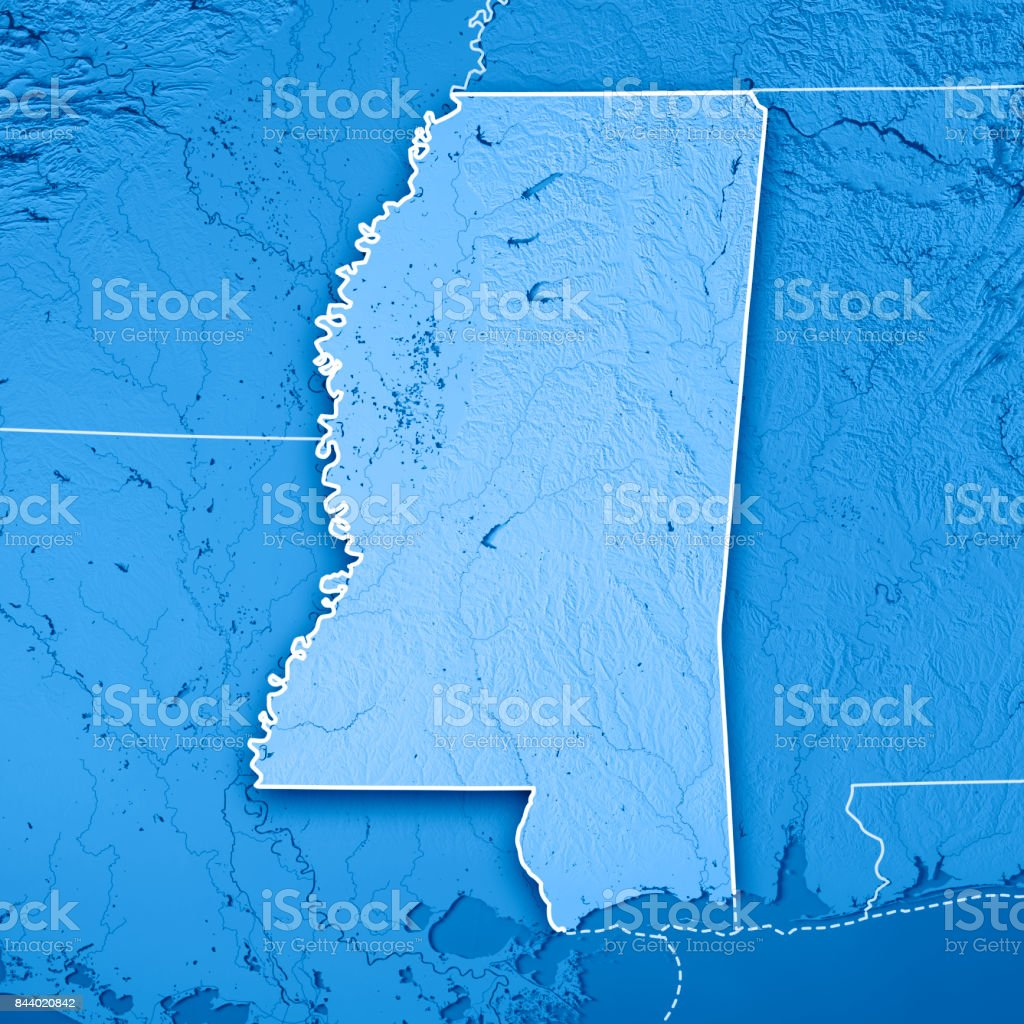 Mississippi State USA 3D Render Topographic Map Blue Border stock photo