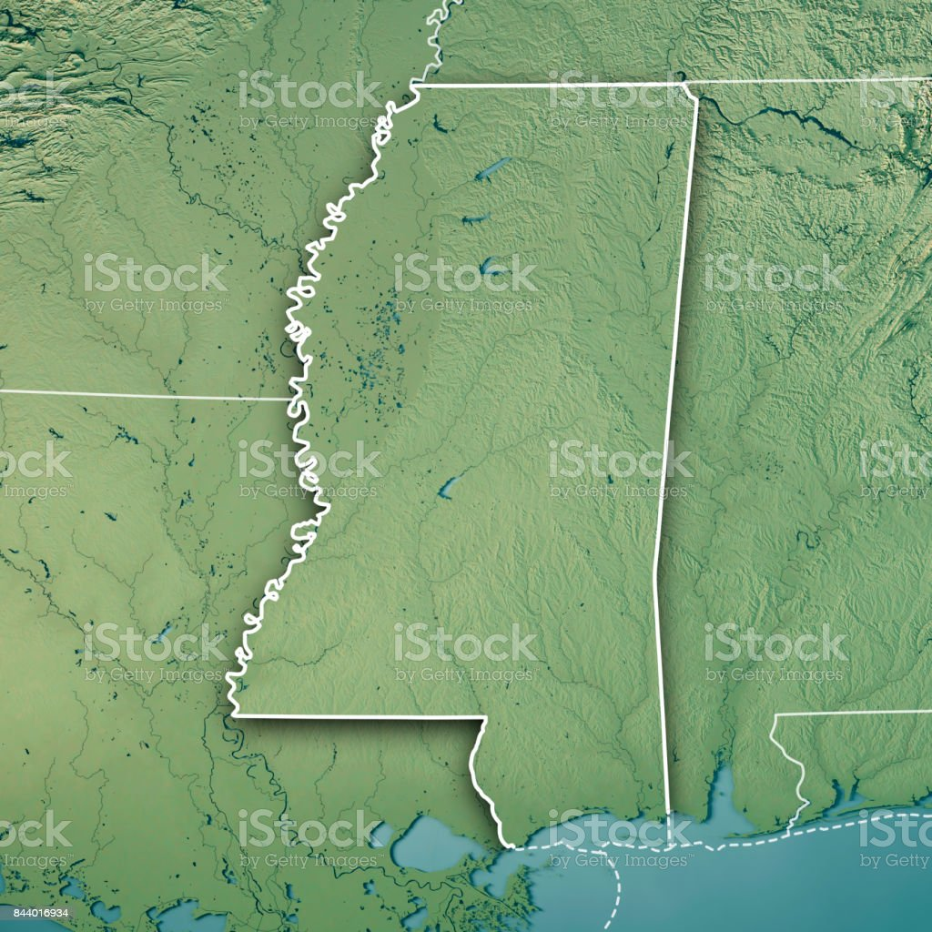 Mississippi State USA 3D Render Topographic Map Border stock photo