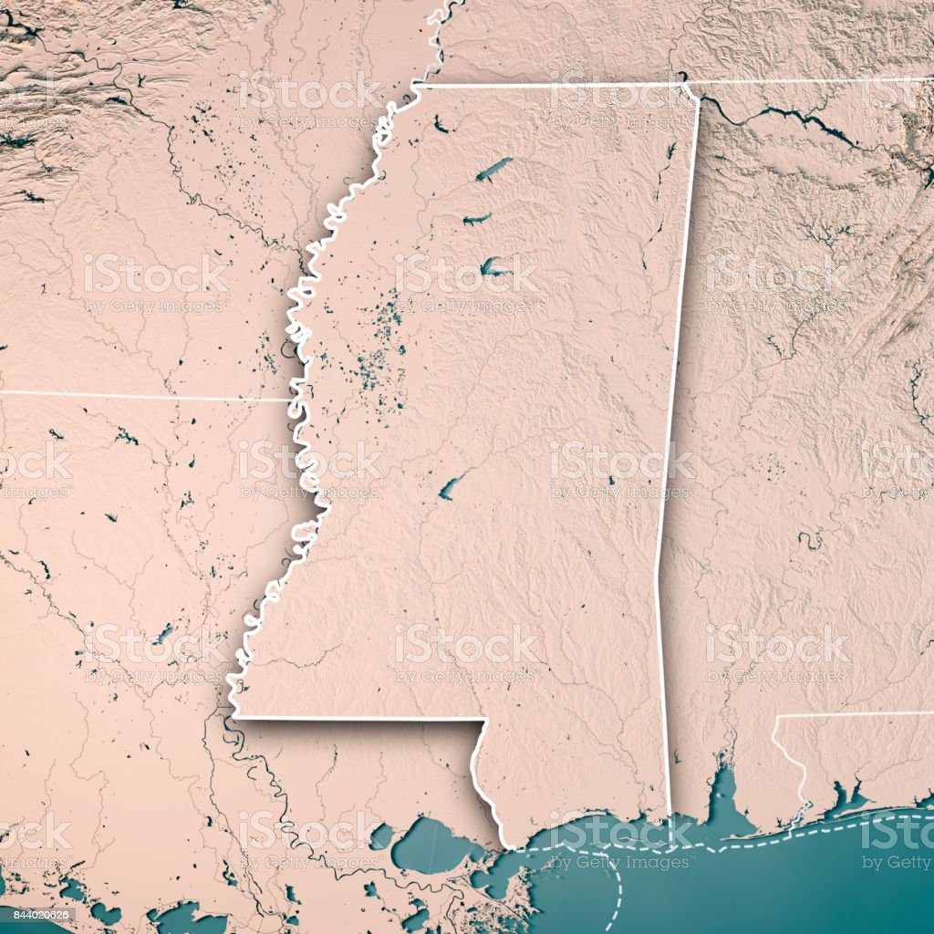 Mississippi State USA 3D Render Topographic Map Neutral Border stock photo