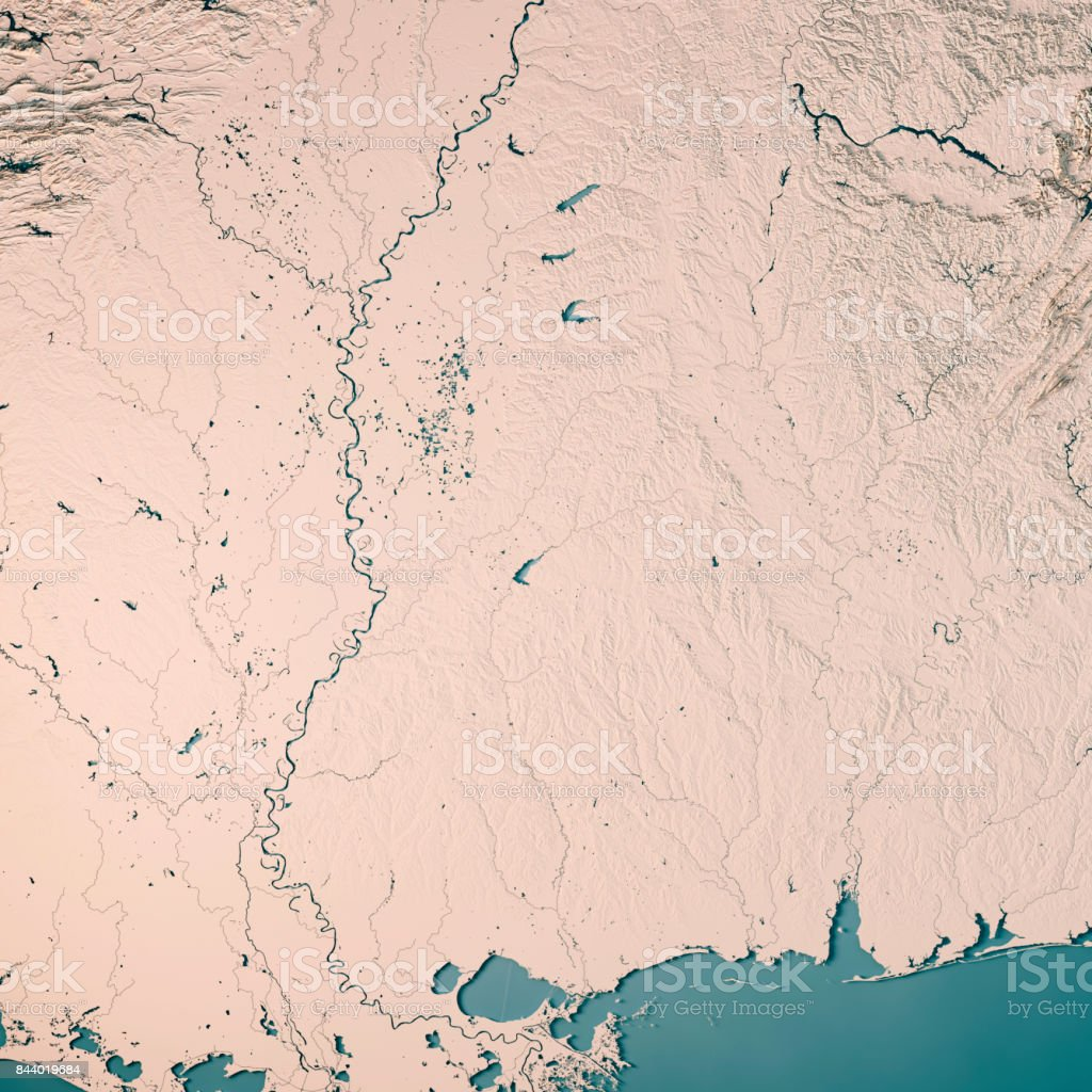 Mississippi State USA 3D Render Topographic Map Neutral stock photo