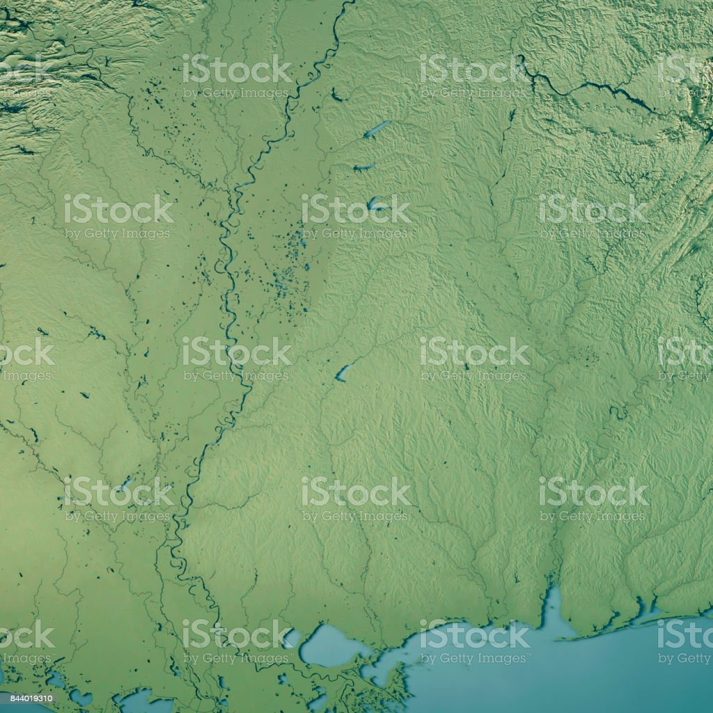 Mississippi State USA 3D Render Topographic Map stock photo