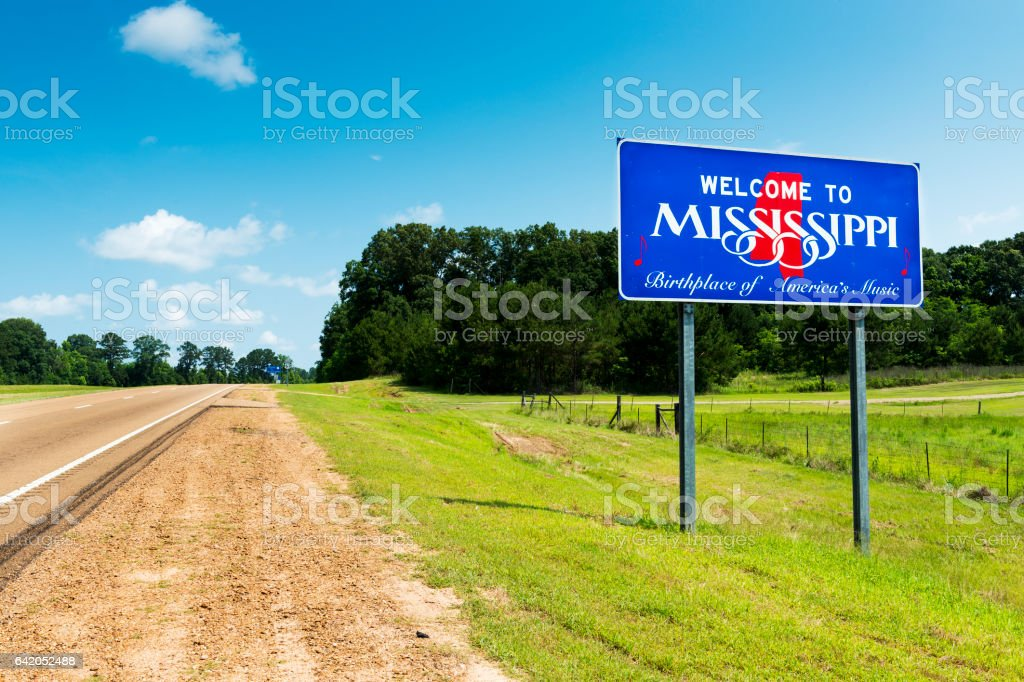Mississippi State welcome sign along the US Highway 61 in the USA – Foto