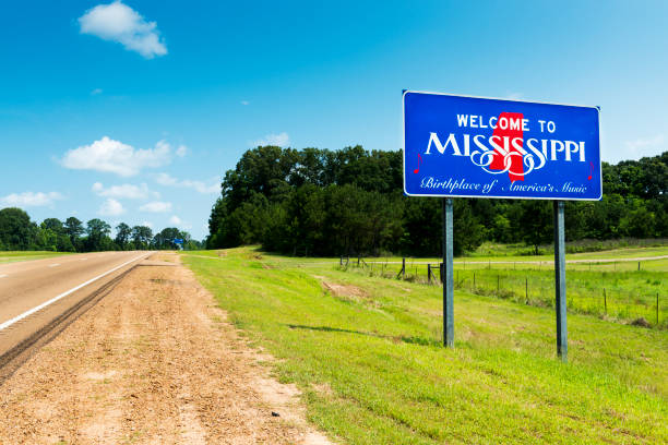 Mississippi State welcome sign along the US Highway 61 in the USA stock photo