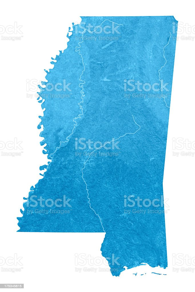 Mississippi Topographic Map Isolated royalty-free stock photo