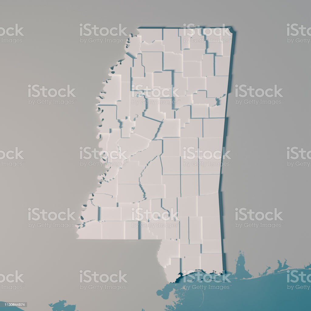 3D Render of an US State map of Mississippi with the Administrative...