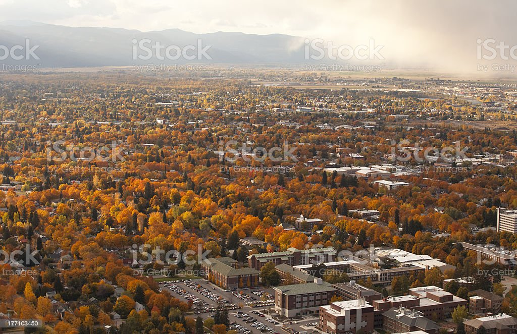 Missoula, Montana in the fall stock photo