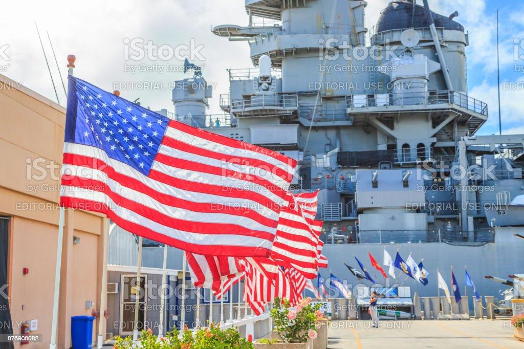 Missouri Battleship memorial flags stock photo