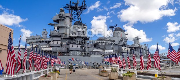 Honolulu, USA - August 5, 2016: the USS Missouri battleship on August 5, 2016 in Pearl Harbor, USA. Site of the treaty signing ending WWII between the US and Japan, is now berthed in Pearl Harbor.