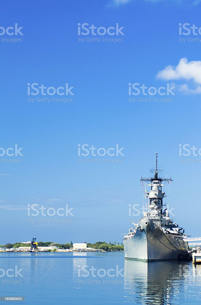 USS Missouri on the waters of Pearl Harbor royalty-free stock photo