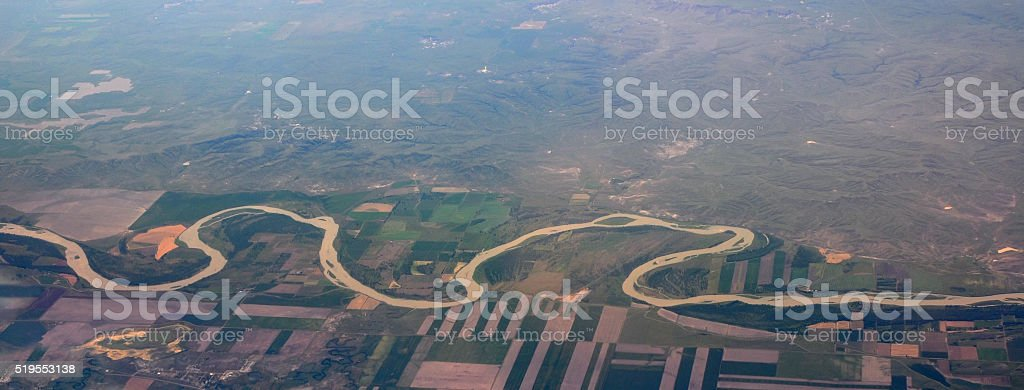 Missouri river, aerial, USA stock photo