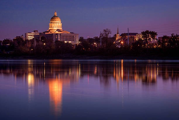 Missouri River and Capitol Building at Sunset stock photo