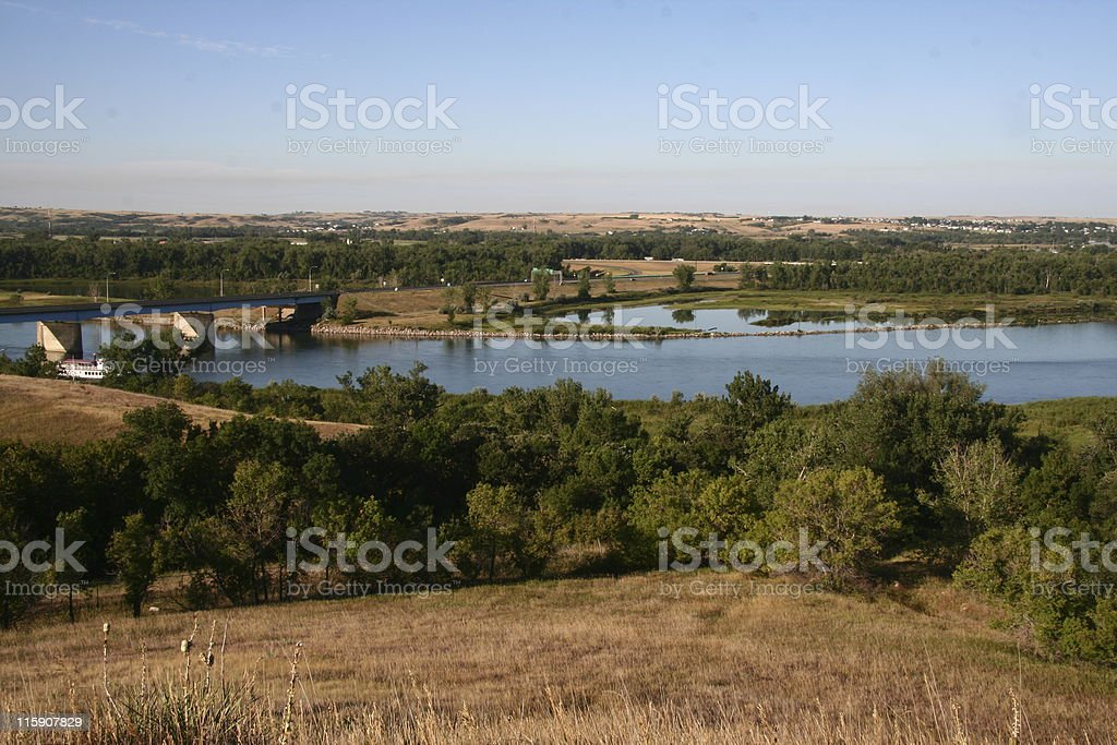 Missouri River at Bismark Overlook stock photo