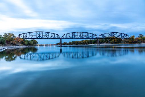 Early-morning view south toward the iconic Missouri River High Bridge in Bismark, North Dakota.