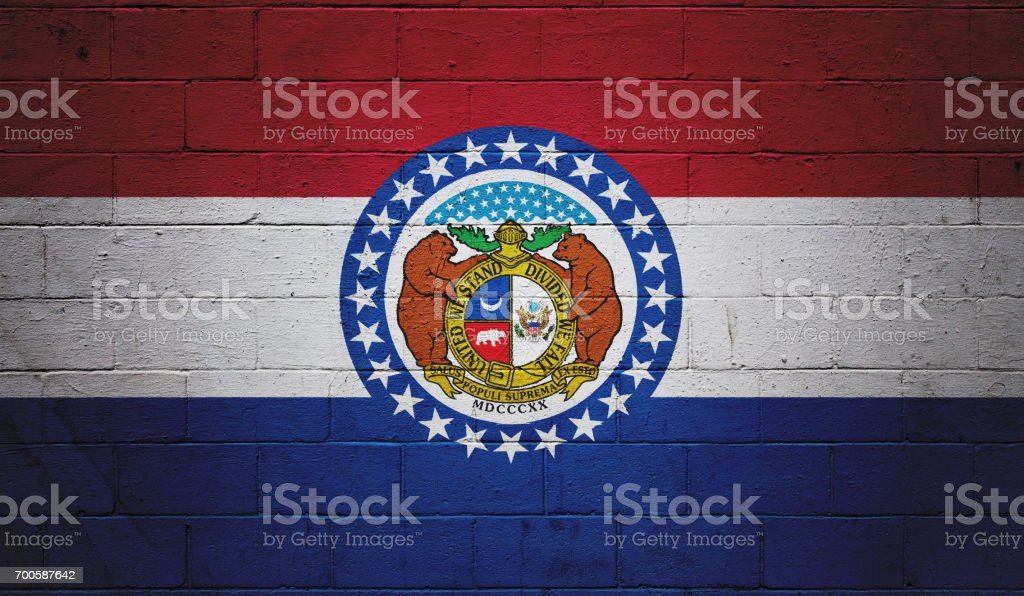 Missouri state flag painted on a wall stock photo