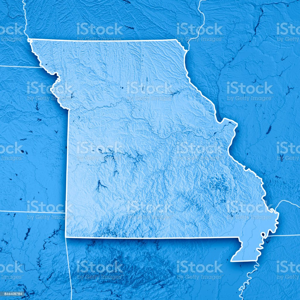 Missouri State USA 3D Render Topographic Map Blue Border stock photo