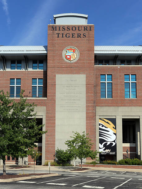 Missouri Tigers Memorial Stadium Columbia, MO, USA - July 5, 2016: An entrance to Faurot Field at Memorial Stadium on the campus of the University of Missouri in Columbia, Missouri. The University of Missouri is a public land-grant research university located in Columbia, Missouri.  university of missouri columbia stock pictures, royalty-free photos & images
