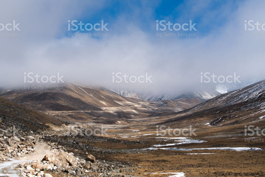 Mist and cloud cover mountain peak Landscape view at ZERO POINT, blue...