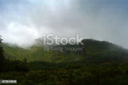 Mist descending over hills in Ireland