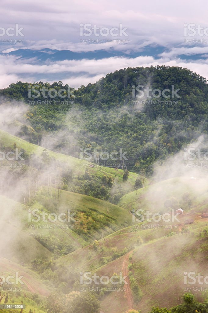 Mist in the mountains at Mae La Noi stock photo