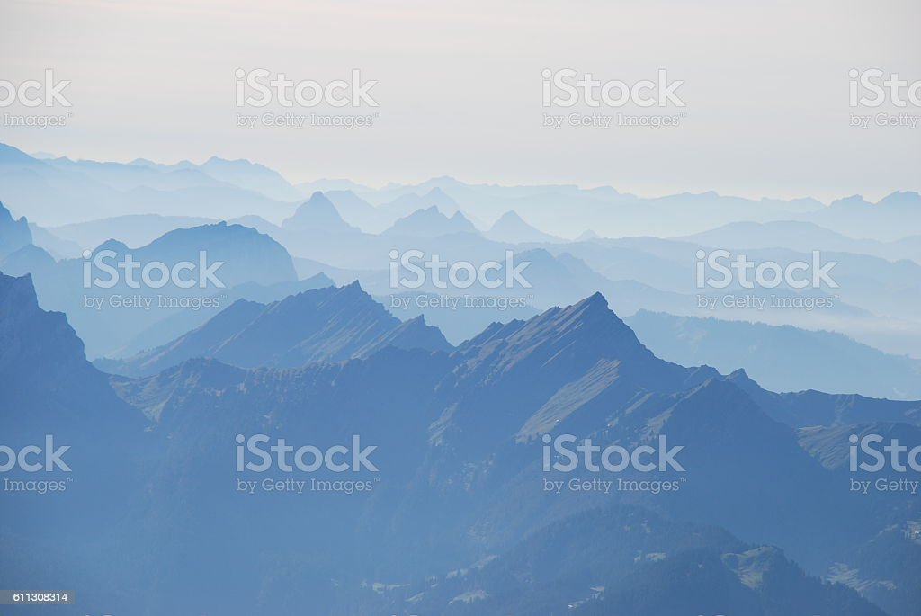 Mist in the Swiss alps panoramic view – Foto