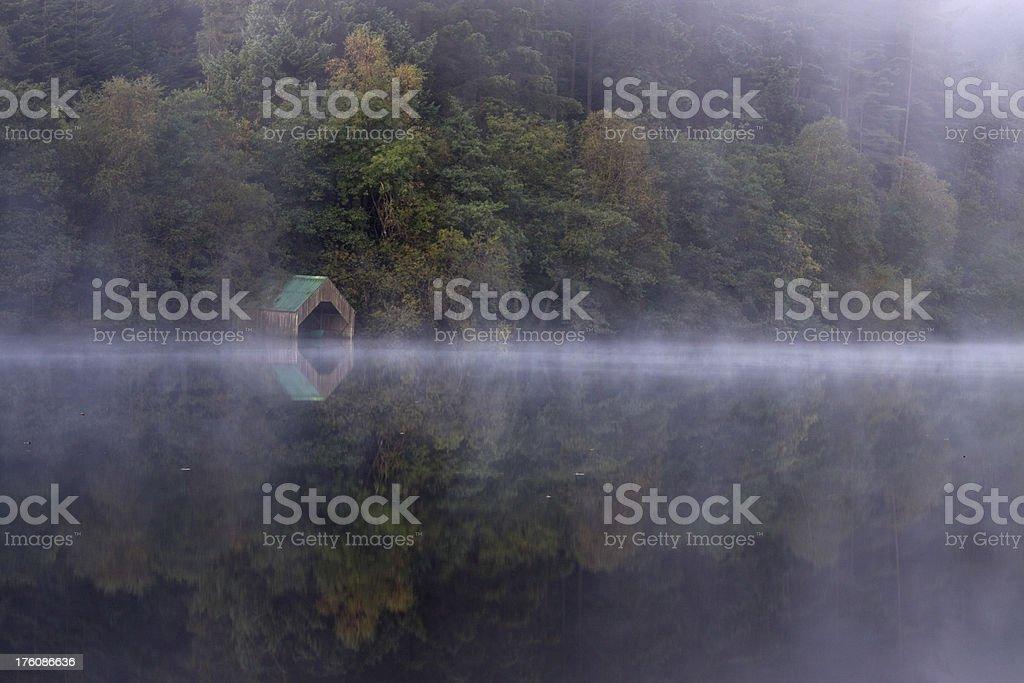 Mist on Loch Ard, near Aberfoyle, Scotland. royalty-free stock photo