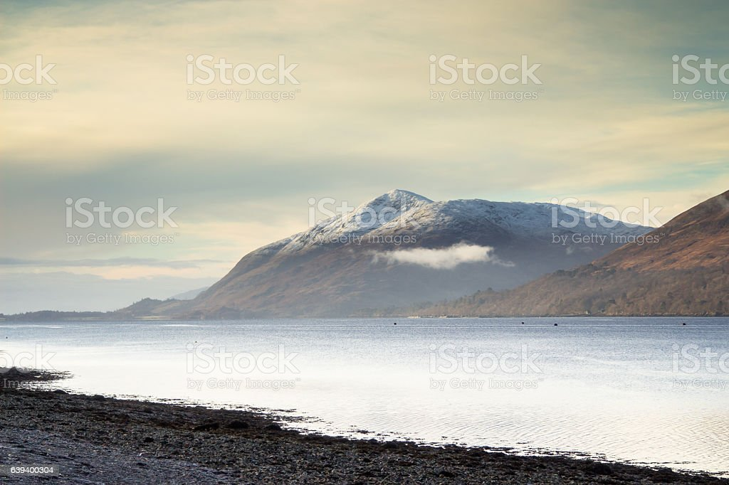 Mist on Scottish Mountains and Loch stock photo