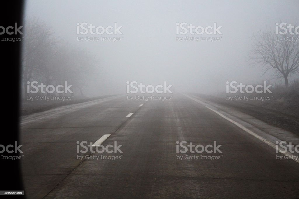 Mist on the road royalty-free stock photo