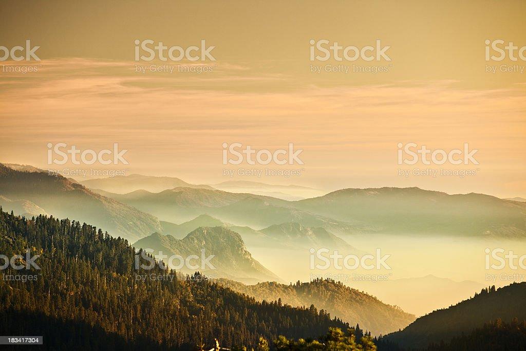 Mist on the Sierra Nevada Mountains stock photo