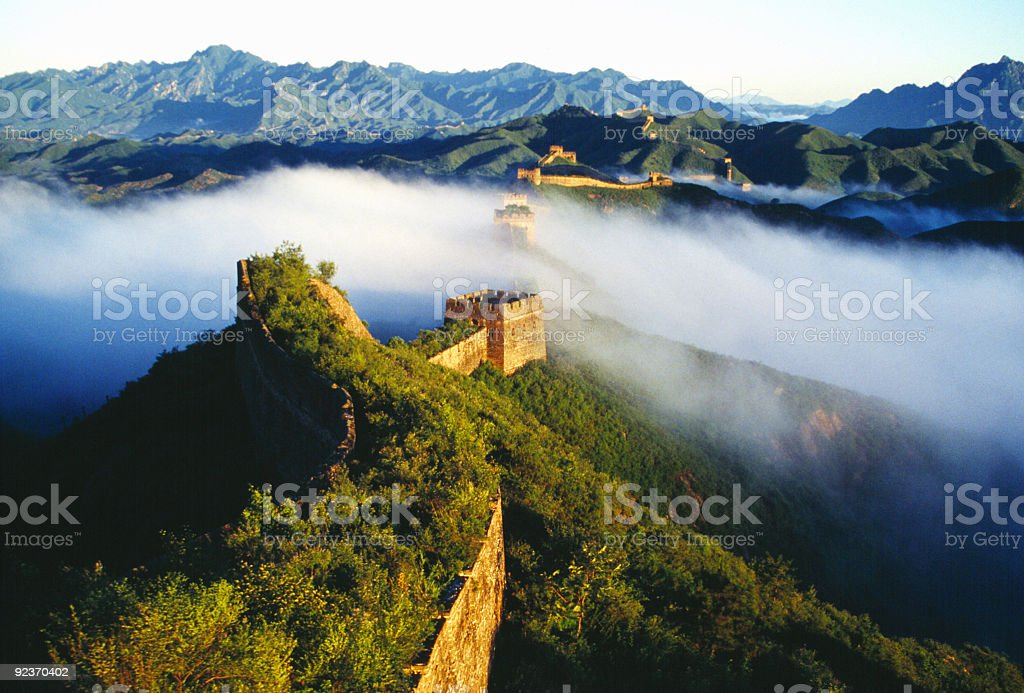 A mist on top of what appears to be the Great Wall of China royalty-free stock photo