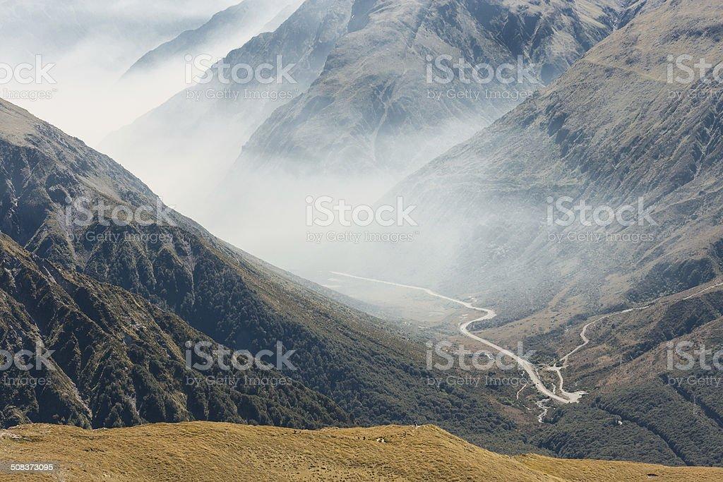 mist over Arthur's Pass, New Zealand stock photo