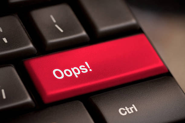 mistake concepts, with oops message on keyboard. oops word on key showing fail failure mistake or sorry concept mistake stock pictures, royalty-free photos & images