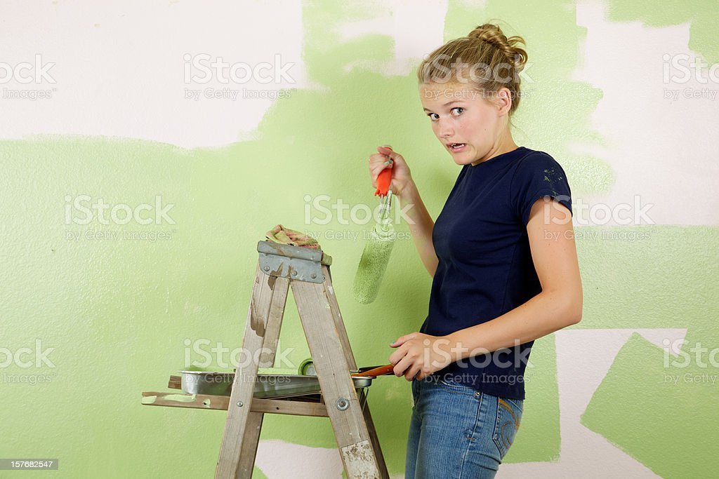 Mistake Painting Girl stock photo