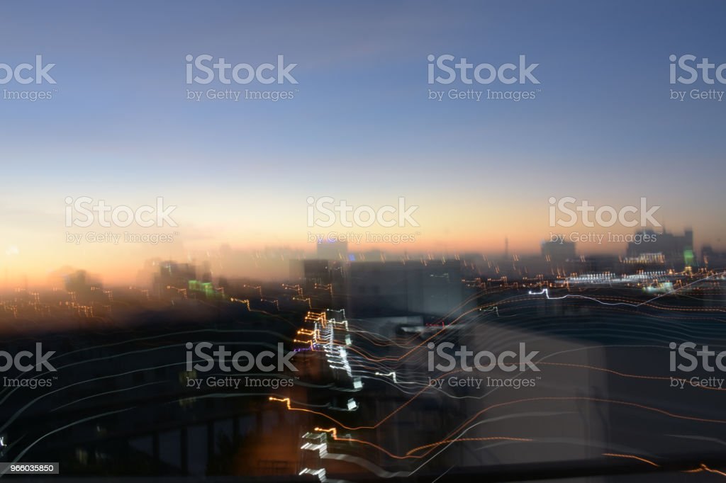 Mistakes by hand move and vibration for take photo city scape twilight blur - Royalty-free Architecture Stock Photo