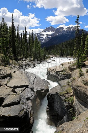 Mistaya Canyon is a canyon in the western part of the Alberta province of Canada. It is formed by the Mistaya River. Tourists who are visiting Banff National Park often visit it because of its distinctive curvy canyon walls and because it is easy to access, being just off the Icefields Parkway.