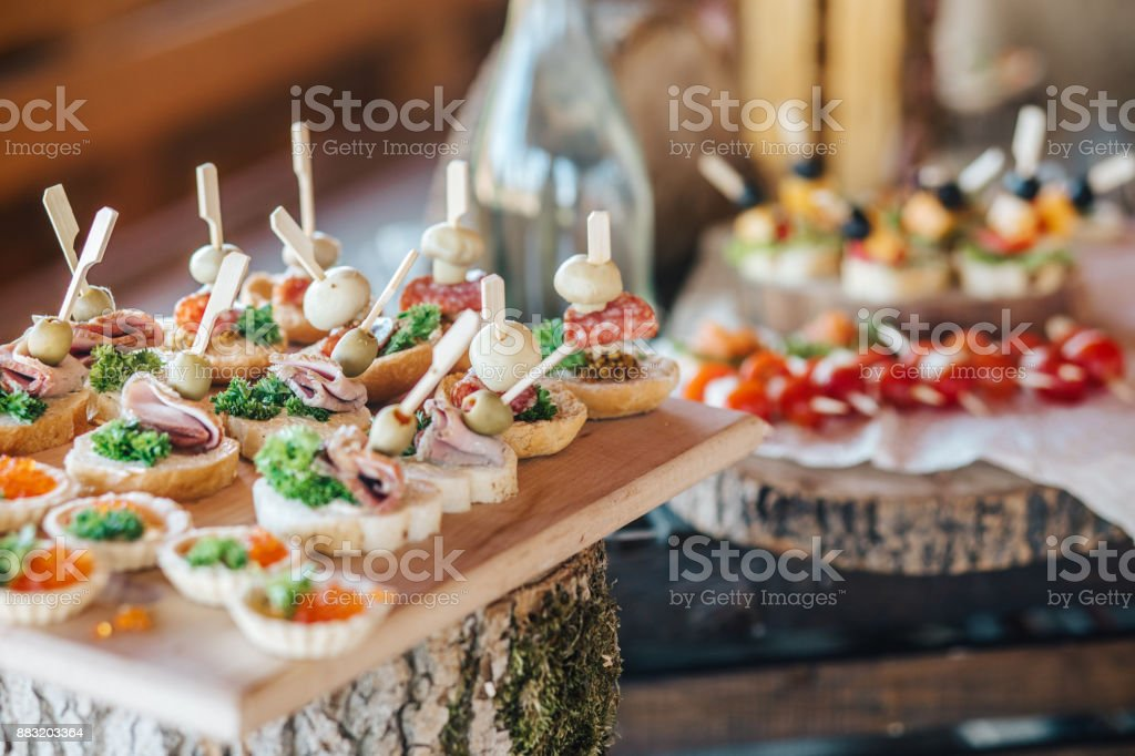 Misted decanter of vodka and traditional Ukrainian snack stock photo