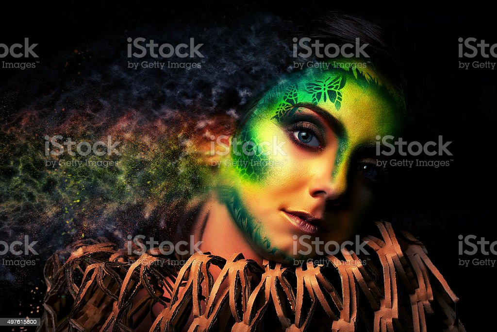misterious witch spreading out stock photo