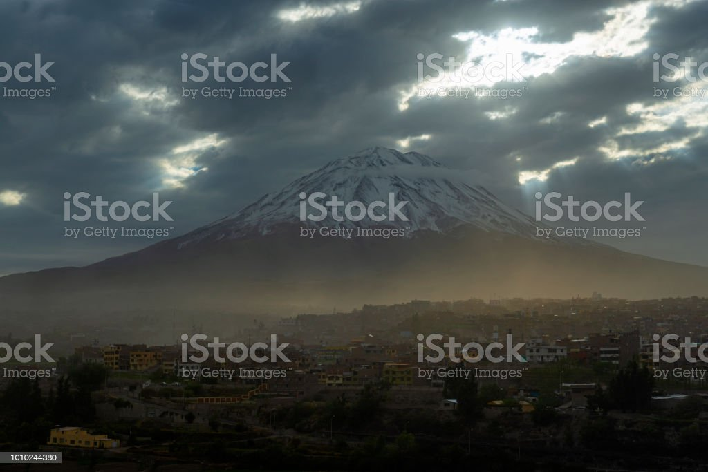 Misti Volcano in Arequipa, Peru stock photo
