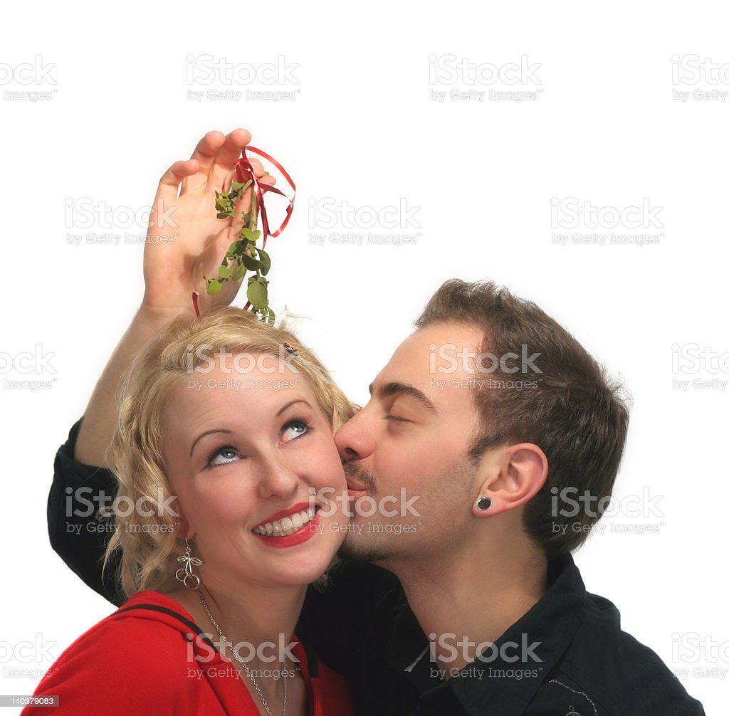 Mistletoe Kiss 1 royalty-free stock photo