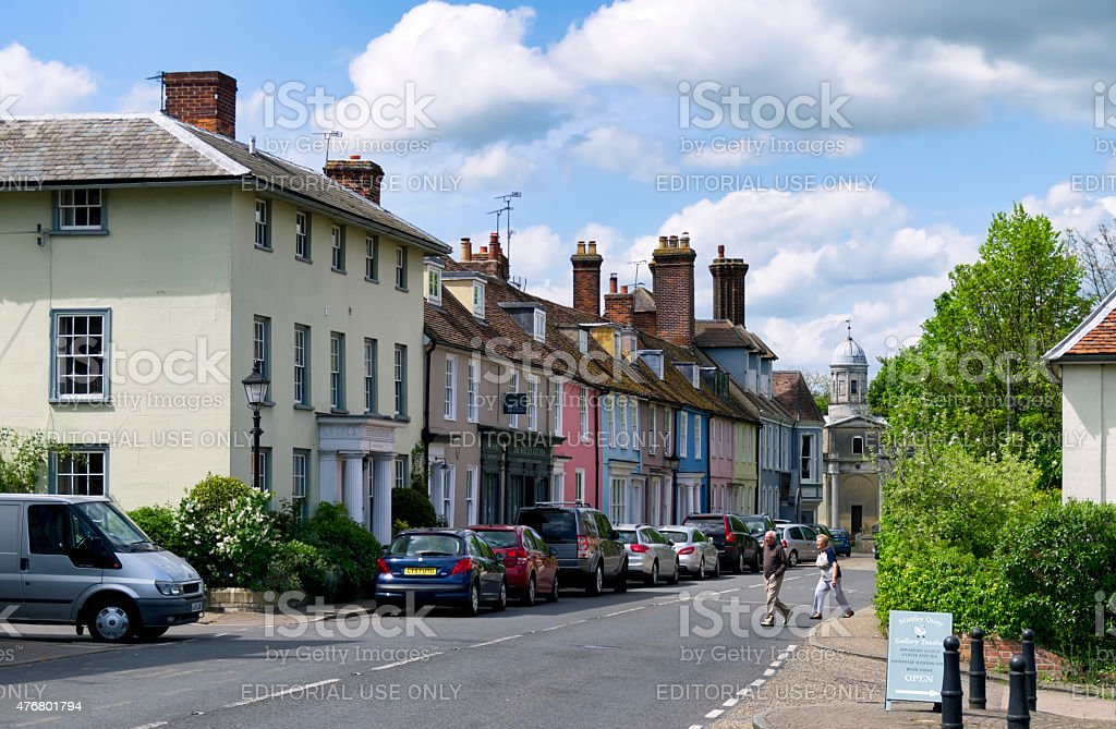 Mistley High Street with colourful houses stock photo