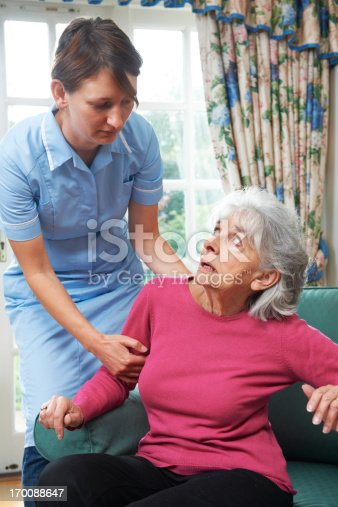 istock Mistreating care worker drags elderly woman up 170088647