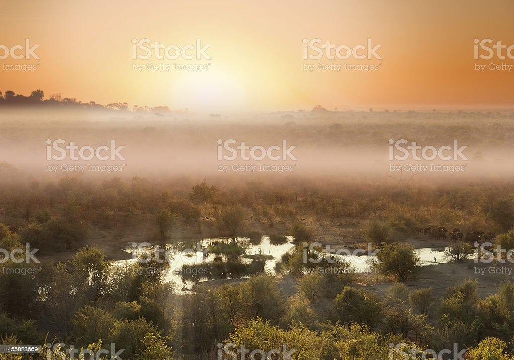 Misty African Sunset royalty-free stock photo