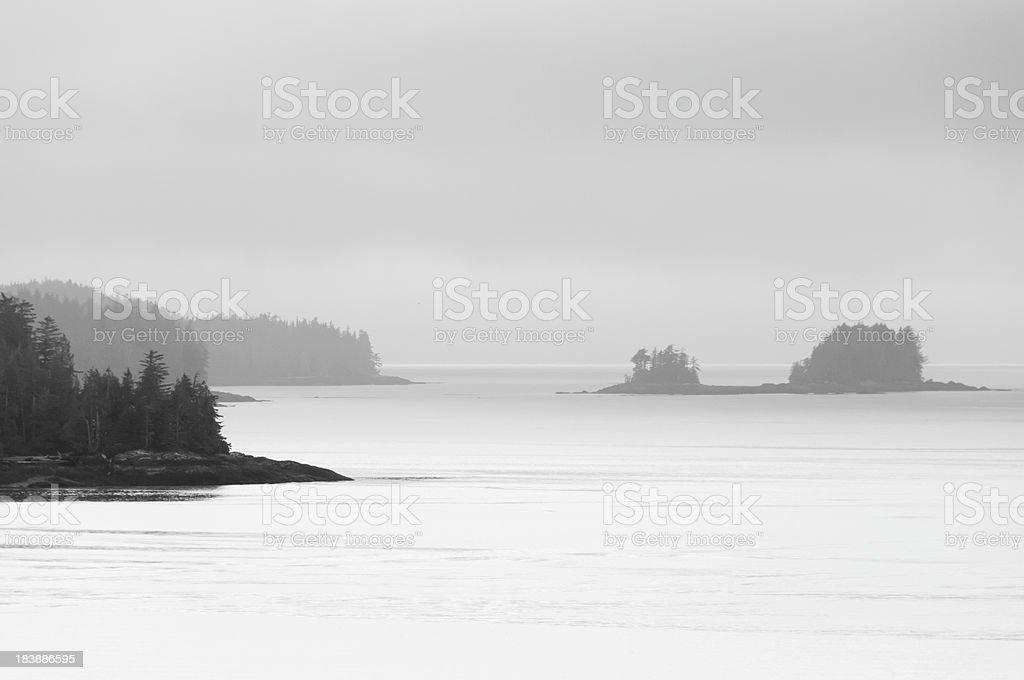 Misty Alaska Coast and Island stock photo
