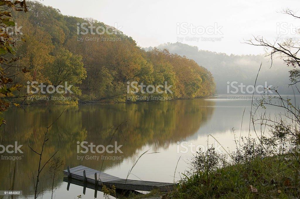 Misty autumn day stock photo