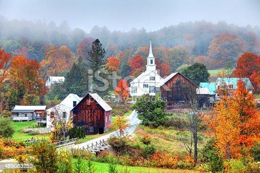 Peak autumn foliage near rural Waits River in Vermont