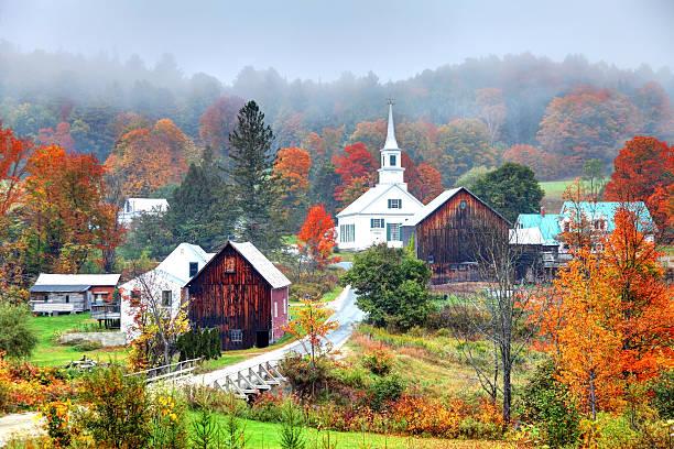 Misty Autumn Foliage in Rural Vermont stock photo