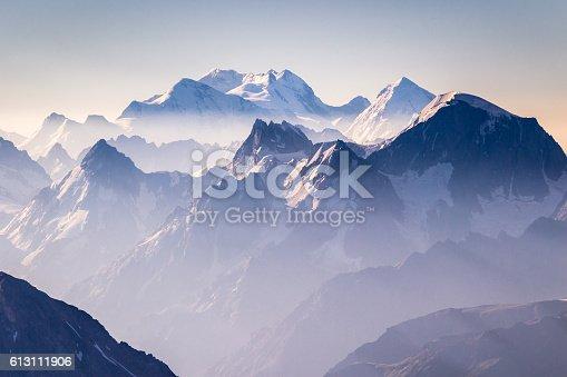 istock Misty blue mountains on sunrise 613111906